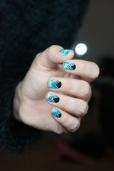 Nail art_teal sponging black stamping_02