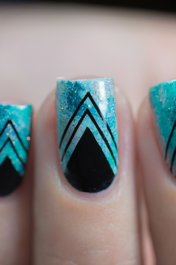 Nail art_teal sponging black stamping_03