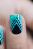 Nail art_teal sponging black stamping_04