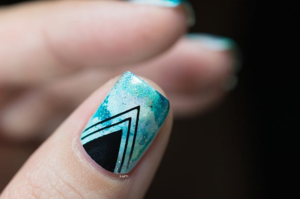 Nail art_teal sponging black stamping_06