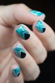 Nail art_teal sponging black stamping_08