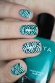 iLaeti_Nail art_Watermarble_Seigaiha stamping_05